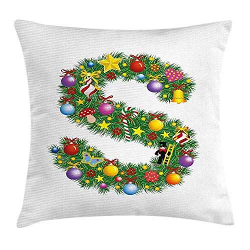 Letter S Throw Pillow Cushion Cover, Pine Design Letter S Christmas Ornaments Colorful Balls Stars Multicolored Pattern, Decorative Square Accent Pillow Case, 18 X 18 inches, Multicolor