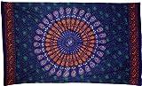Guru-Shop Dünnes Tuch, Sarong, Mandala Wandbehang, Wickelrock, Sarongkleid, Herren/Damen, Blau/grün/orange, Baumwolle, Size:One Size, 180x110 cm, Bedruckte Tücher Alternative Bekleidung
