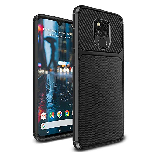 Ferilinso Cover per Huawei Mate 20 X, Custodia in Fibra di Carbonio Slim Thin Hybrid Defender Scratch Resistant Anti Shock Cover Protettiva in Silicone per Huawei Mate 20 X(Nero)