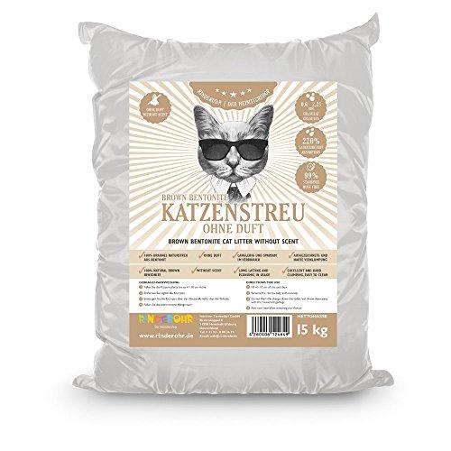 #RinderOhr Brown Betonit Katzenstreu ohne Duft 15kg#