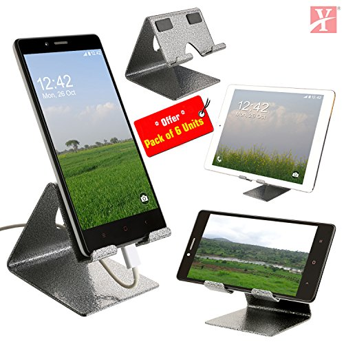 YT Mobile Phone Metal Stand/Holder for Smartphones and Tablet - Antique Silver - Pack of 6 Units (Proudly Made in India) …