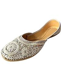 Step n Style Punjabi Jutti Indiano Scarpe Piatto Flop Flop Khussa Scarpe Jaipuri Sandali, Nero (Black), 39