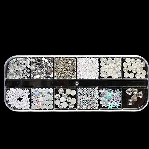Nail art décoration Strass Perle en forme de mélange Tailles Clous Boîte de rangement en plastique