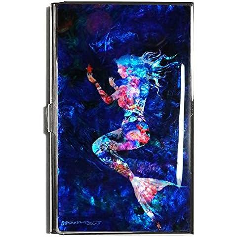 Business Credit ID Card Case Holder in metallo sottile portafoglio da viaggio Madreperla sirena blu scuro