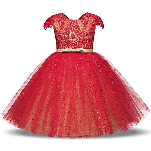 Berimaterry Mädchen Prinzessin Brautjungfer Festzug Tutu Tüll-Kleid Party Hochzeit Kleid Spitze Mesh Rückenfrei Taufkleid Brautjungfern ()