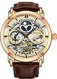 Stuhrling Original Mens Automatic-Self-Wind Luxury Dress Skeleton Dual Time Rose Gold Wrist-Watch 22 Jewels 47 mm Stainless Steel...