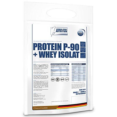 Whey Protein 2 Kg - Protein P-90 + Whey Isolat 2000 g mit CFM Iso Whey (Vanille) -