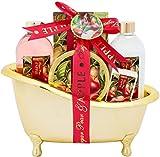 BRUBAKER Bade-Geschenkset Zuckerbirne & Apfel mit Deko Badewanne goldfarben 6-teilig