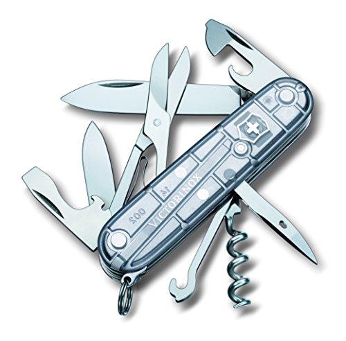Victorinox Taschenmesser Climber (14 Funktionen, Schere, Mehrzweckhaken, Korkenzieher, Lebenslange Garantie) Silber Transparent B1