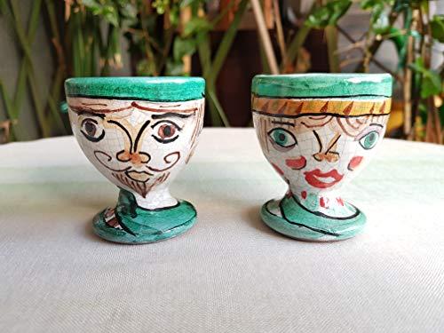 Portauovo in ceramica siciliana decorato a mano. coppia di portauova. set di due porta uova. le ceramiche di ketty messina