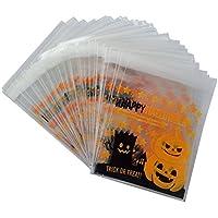 100x da. WA autoadhesivo Halloween Treat Bolsas para galletas bolsas celofán calabaza Candy bolsa de almacenamiento Party regalo