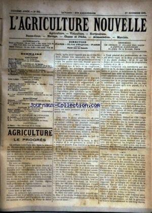 AGRICULTURE NOUVELLE (L') [No 602] du 01/11/1902 - AGRICULTURE PAR MARCHAND - PAISANT - MARRE - LESAGE - BERTHOT - TROUDE - VITICULTURE PAR CANU - HORTICULTURE PAR TRIGAUD - ELEVAGE PAR VACHER - BRECHEMIN - ENSEIGNEMENT AGRICOLE - A L'ETRANGER PAR LATIERE - PISCICULTURE PAR ZIPEY
