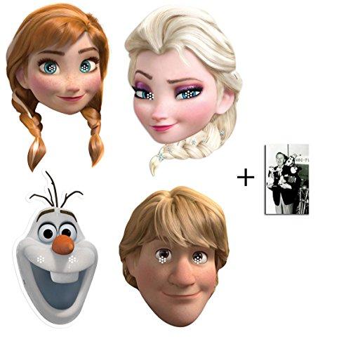 Frozen (Die Eiskönigin) Anna, Elsa, Olaf und Kristoff Karte Partei Gesichtsmasken (Maske) Packung von 4 - Enthält 6X4 (15X10Cm) ()