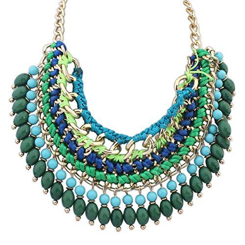 Beautiful Bead Bohemian Stile esotico Multi fila intrecciato ciondolo illusione collana verde e blu