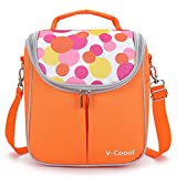 Wawoo Thicken Oxford Specialized PVC Water-Proof Lining Lunch Box Bag Cooler Tote Travel Camping Picnic Bag Breast Milk Storage Carring Shoulder Lunch Bag Large Capacity 22.5*16*24CM Orange