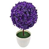 SuperglockT Künstliche Topfpflanzen Mini Künstlicher Baum Kunstpflanze Kugelform Kunstbaum Kunststoff Bonsai Baum im Topf Zimmer Party Tisch Deko (Lila)