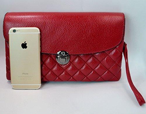 AiSi Damen Leder Geometrie-Muster Umhängetasche Clutch Unterarmtasche Damentasche Handtasche Abendtasche für Hochzeit Party, mit Reißverschluss rot Rot