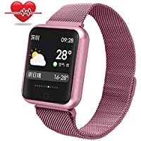 RanGuo - Reloj Inteligente para Hombres, Mujeres y niños, Deportes al aire libre impermeable IP68 Smart Watch para sistema Android y iOS, Apoyo recordatorio de llamada y recordatorio de mensaje (Rosa)