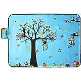 jysport manta de Picnic, plegable, diseño de unicornio de respaldo impermeable, jardín al aire libre barbacoa Picnicware con asa, Owl and tree