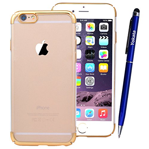 Yokata Placcatura Cover per iPhone 6S / 6 Custodia gel Silicone Case Durevole PC Backcover Protettiva Caso Premium Protezione Shell per iPhone 6S / 6 + Penna - Argento Oro