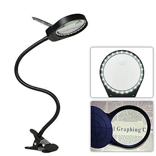 Tomshine LED Lupenleuchte mit Klemme Lupenlampe USB 5W 26 LED Tischlupe mit Schwanenhals 3x 10x Fach...
