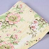 Rollo de papel tapiz para la pared, autoadhesivo, con diseño floral, para armarios de cocina, cajones, estantes, mesa, artes y manualidades (45x 1000