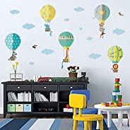 decalmile Animals in Hot Air Balloons Wall Decals Giraffe Elephant Kids Wall Stickers Baby Nursery Childrens B