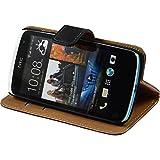 PhoneNatic Kunst-Lederhülle für HTC Desire 500 Wallet