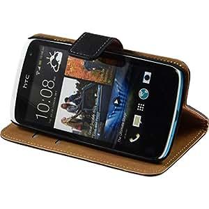 PhoneNatic Lederhülle für HTC Desire 500 Wallet schwarz Tasche Desire 500 Hülle + 2 Schutzfolien