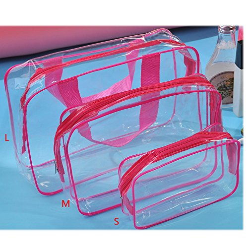 EILEMO 3Pcs Clear Cosmetic Bag Air Travel Toiletry Bags Bulk, Water Resistant Packing Cubes with Zipper Closure & Carry Handle for Women Baby Men, Make-up brush Case Beach Pool Spa Gym Bag