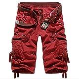 MISSMAOM Bermudas Cargo Shorts Hombres Pantalones Cortos Leisure Casual Verano Pantalones Cortos Rojo 42