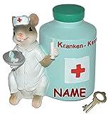 """"""" Kranken - Kasse """" - Spardose Maus - mit Schlüssel + Namen - stabile Sparbüchse aus Kunstharz - Krankenschwester Geld Mäuse Doktor Arzt - Krankenkasse / Krankenhaus"""