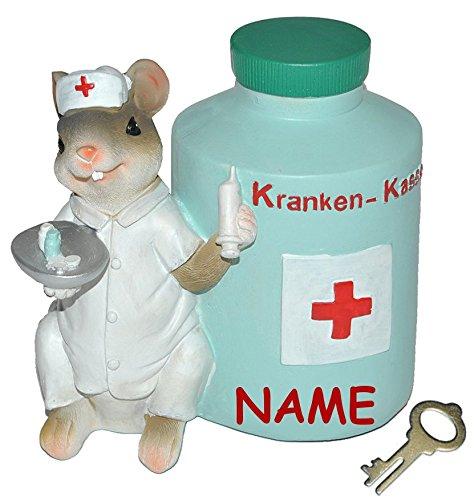 """Preisvergleich Produktbild """" Kranken - Kasse """" - Spardose Maus - mit Schlüssel + Namen - stabile Sparbüchse aus Kunstharz - Krankenschwester Geld Mäuse Doktor Arzt - Krankenkasse / Krankenhaus"""