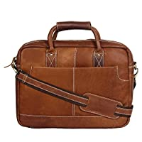 56fc63a7d  OMAX Brown 100% Genuine Large Compartment Tan Colour Leather Messenger  Laptop Bag for