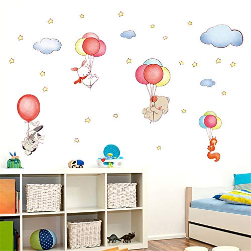 LETAMG Stickers Muraux DIY Bande Dessinée Animal Ballon Amovible Décorations À La Maison 60 * 90 cm Sticker Famille PVC Papier Peint Autocollant Mural Art Décor À La Maison