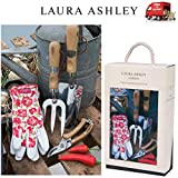Laura Ashley 4 Piece Garden Tool set forchetta paletta da giardiniere e guanti con confezione regalo