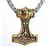 COPAUL Schmuck Edelstahl Vintage Herren Thor Hammer Anhänger mit 60cm Kette Halskette,Gold/Silber