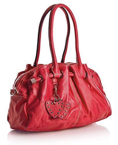 Big Handbag Shop Sac à main pour femme Poches multiples et charms en forme de cœur Taille M - Rouge - rouge, One Size