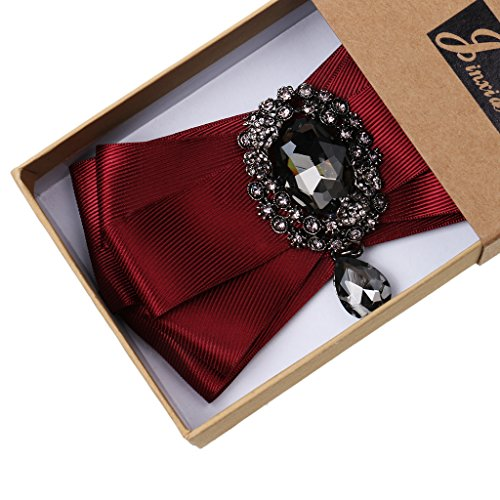 Nœud Papillon Homme Tuxedo Mariage Réglable Strass Cristal Ovale Decor Bowtie Bordeaux