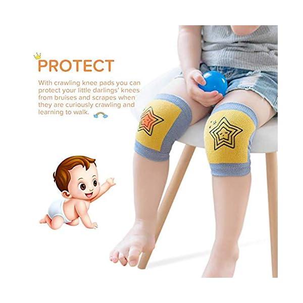 Rodilleras antideslizantes de arrastre unisex para bebés, rodilleras para niños pequeños Protectores contra el arrastre… 4