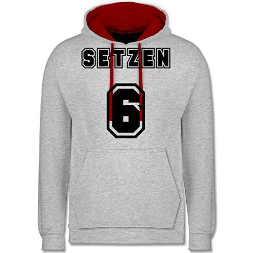 Statement Shirts - Setzen sechs Setzen 6 - Kontrast Hoodie Grau Meliert/Rot