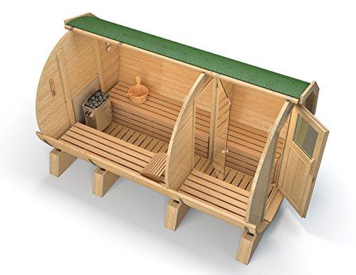 ISIDOR Fasssauna M3 Premium mit Vorraum, aus Espenholz (grüne Dachschindeln)