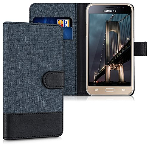 kwmobile Samsung Galaxy J3 (2016) DUOS Hülle - Kunstleder Wallet Case für Samsung Galaxy J3 (2016) DUOS mit Kartenfächern & Stand
