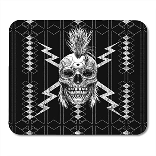 Gaming Mauspad Skull Punk Graphic Rocker Guitar Hair Man Mohawk Steam Anarchy 11.8