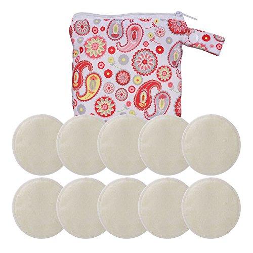 GHB Coppette Assorbilatte Lavabili in Bambù Biologico Coppette Riutilizzabili Breast Pad Lavabile 10 pezzi con Sacchetto per Lavatrice