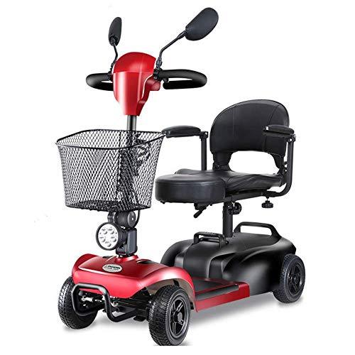 Faltbarer Elektrischer Roller 4 Räder, Motor Leichte Ältere Erwachsene Elektro-Rollstuhl Mini Power Scooter 350W / Gefahrene 50Km,Rot -