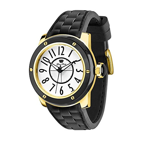 Glam Rock Women's Aquarock 42mm Black Silicone Band Gold Plated Case Quartz White Dial Watch GR50002F-N