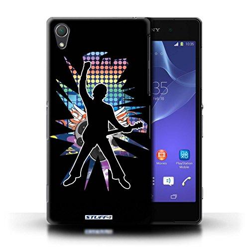 Kobalt® Imprimé Etui / Coque pour Sony Xperia Z2 / Pencher Blanc conception / Série Rock Star Pose Windmill Noir