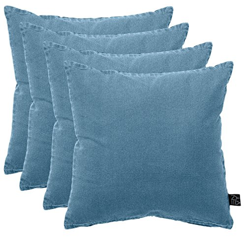 Multistore 2002 4er Set Palettenkissen, Polsterkissen, 45x45cm, Ombre Blue, Baumwollbezug mit Reißverschluß - Bodenkissen Sitzkissen Zierkissen