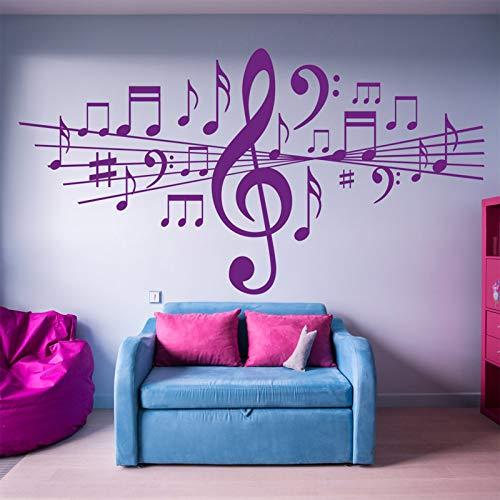 Notas Musicales Extraíbles Pegatinas de Pared para la Sala de Estar Decoración del Hogar Calcomanías de Vinilo Estudio Dormitorio Danza Art Gift Poster Purple 84 * 42 cm
